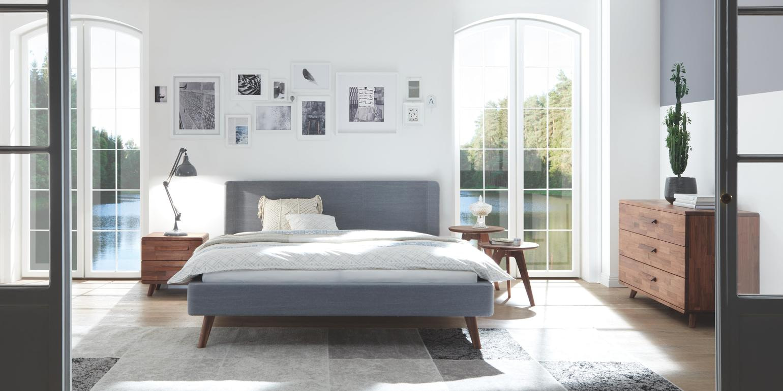 gestoffeerde houten poten mooi simpel modern bed